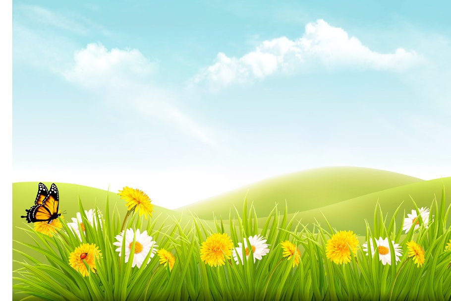 Nature Background - Nature background with grass ~ Illustrations ~ Creative Market