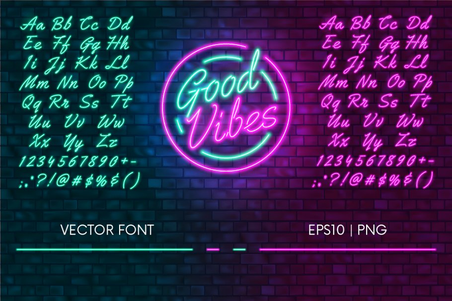 Neon Fonts Png - Neon font | Pink and Green | Custom-Designed Graphics ~ Creative ...