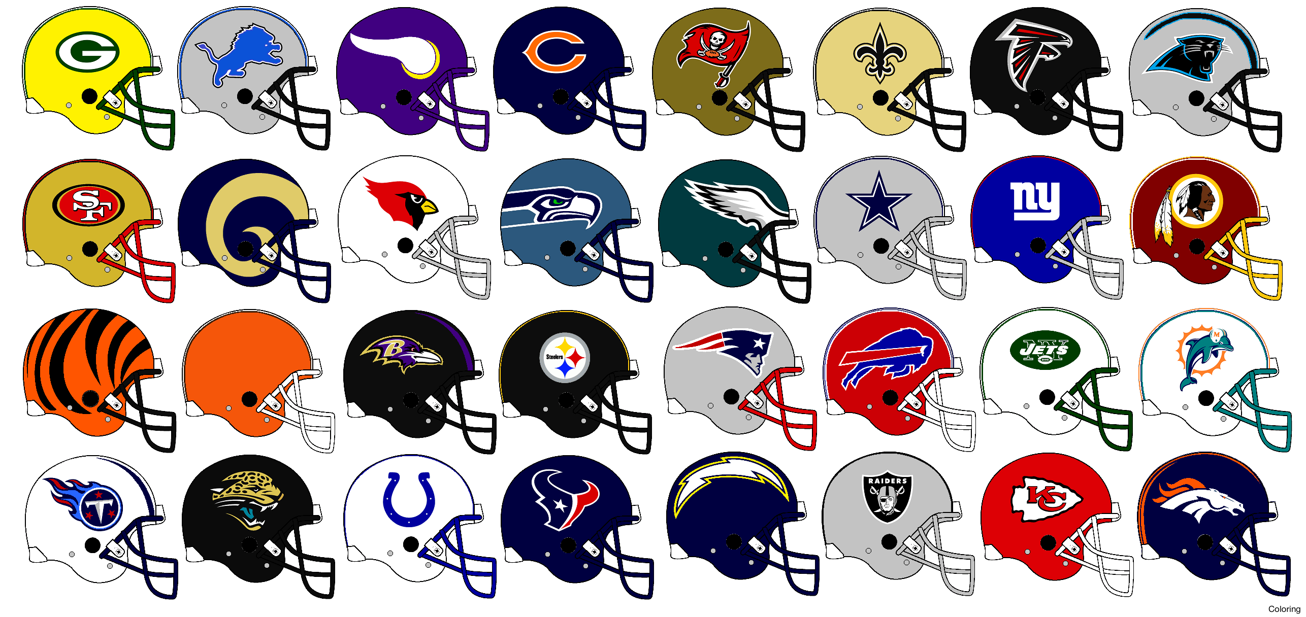 Nfl Helmet Logos Coloring Pages 2420758 Png Images Pngio