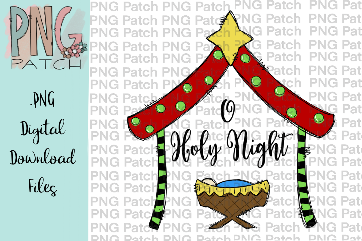 Cute Colorful Png - O Holy Night, Cute Colorful Manger, Christmas PNG File