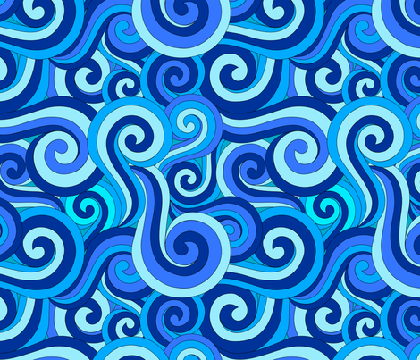 Blue Swirls - Ocean Swirls and Spirals in Blue wallpaper - leah_day - Spoonflower