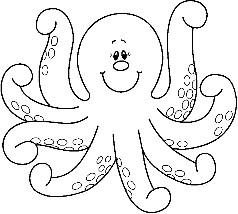 Cute Octopus Png Black And White - Octopus Clipart - ClipartPost