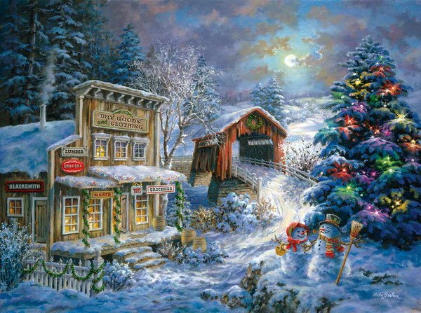 Old Timey Winter Snowman Scenes Png - Old Country store at christmas time // by Nicky Boehme | Christmas ...