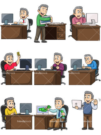 Multiple People Using Computer Png - online Clipart - Cartoon Vector Images - FriendlyStock