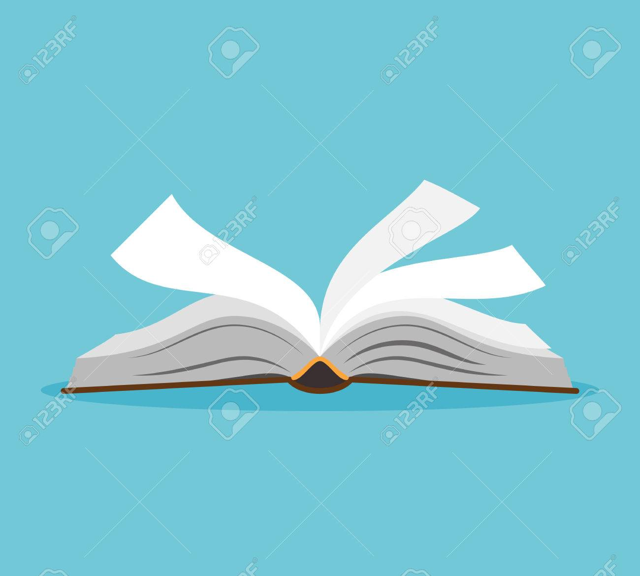 Open Book Vector - Opened Book Illustration. Open Book With Pages Fluttering. Vector ...