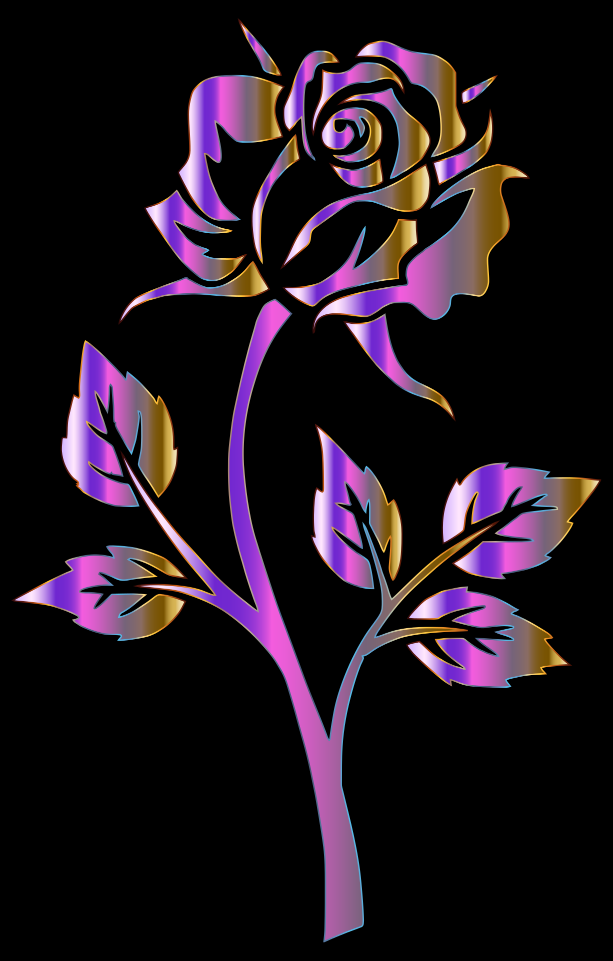 Purple And Black Backgrounds Png - Painted purple rose on black background free image
