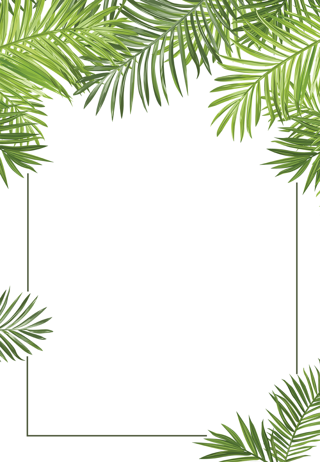 Tropical Background Png - Palm Leaves - Business Event Invitation Template (Free | labels in ...