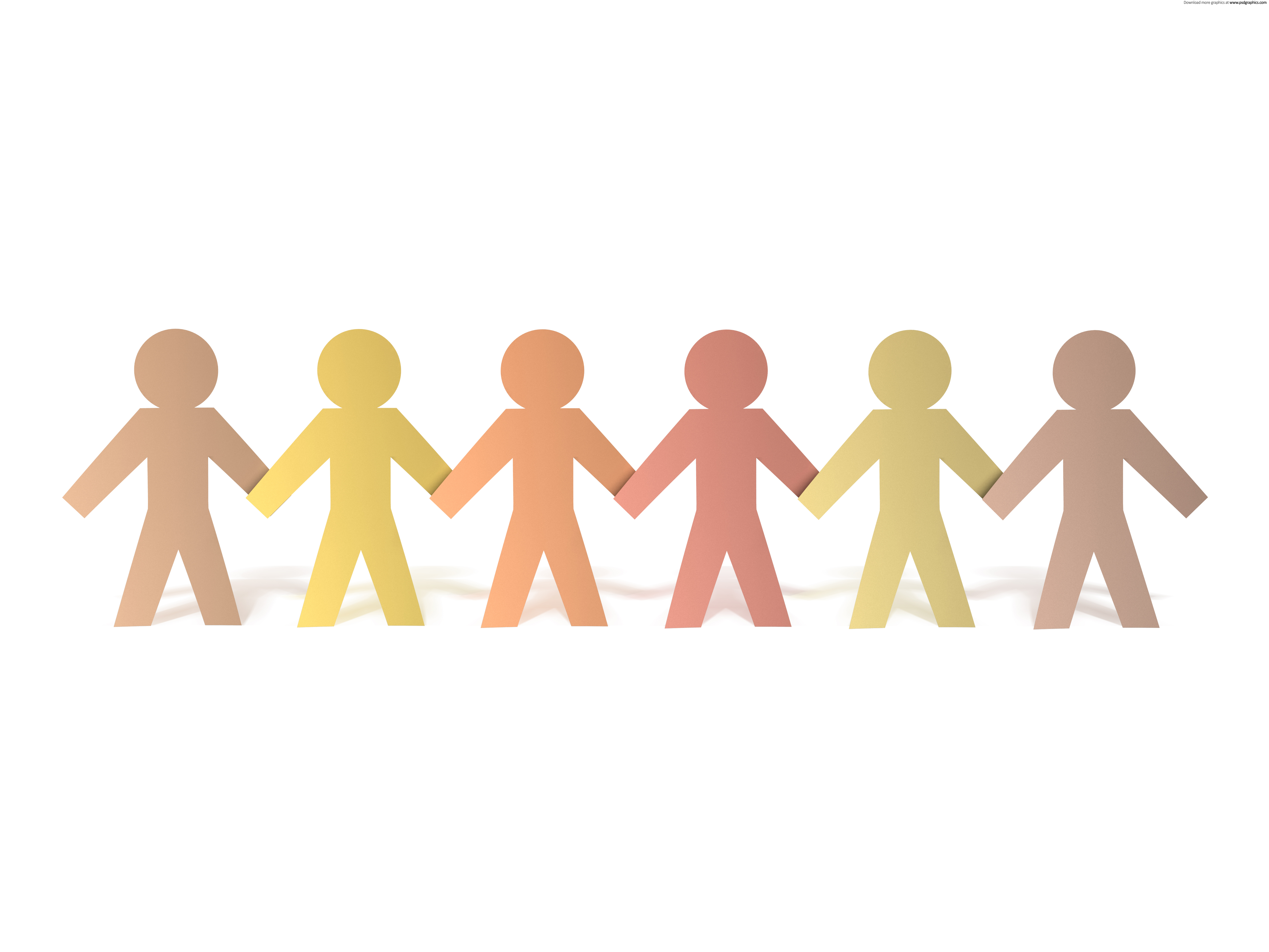 Paper People Chain Png - Paper people chain background | PSDGraphics