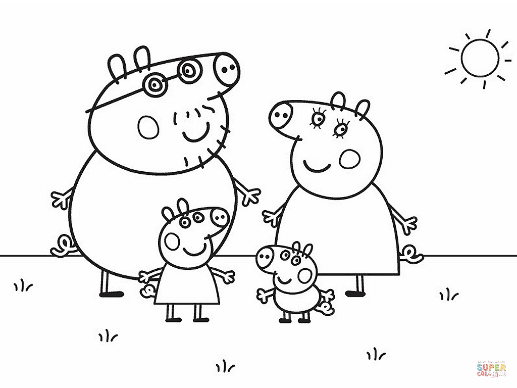 Peppa Pig's Family Coloring Page | Free #119837 - PNG Images - PNGio