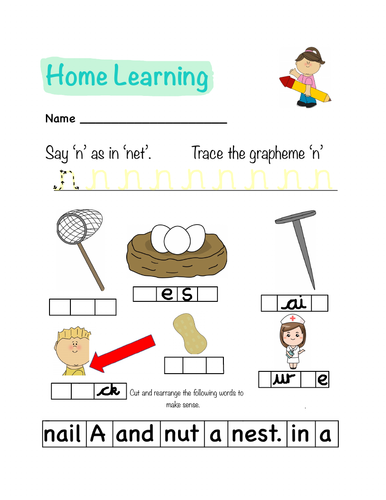 Letter N Phonics Png - Phonics Letters and Sounds Homework Sheet (n) | Teaching Resources