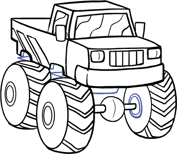 Monster Truck Clipart Black And White - Picture Black And White How To Draw A - Step By Step Drawing ...