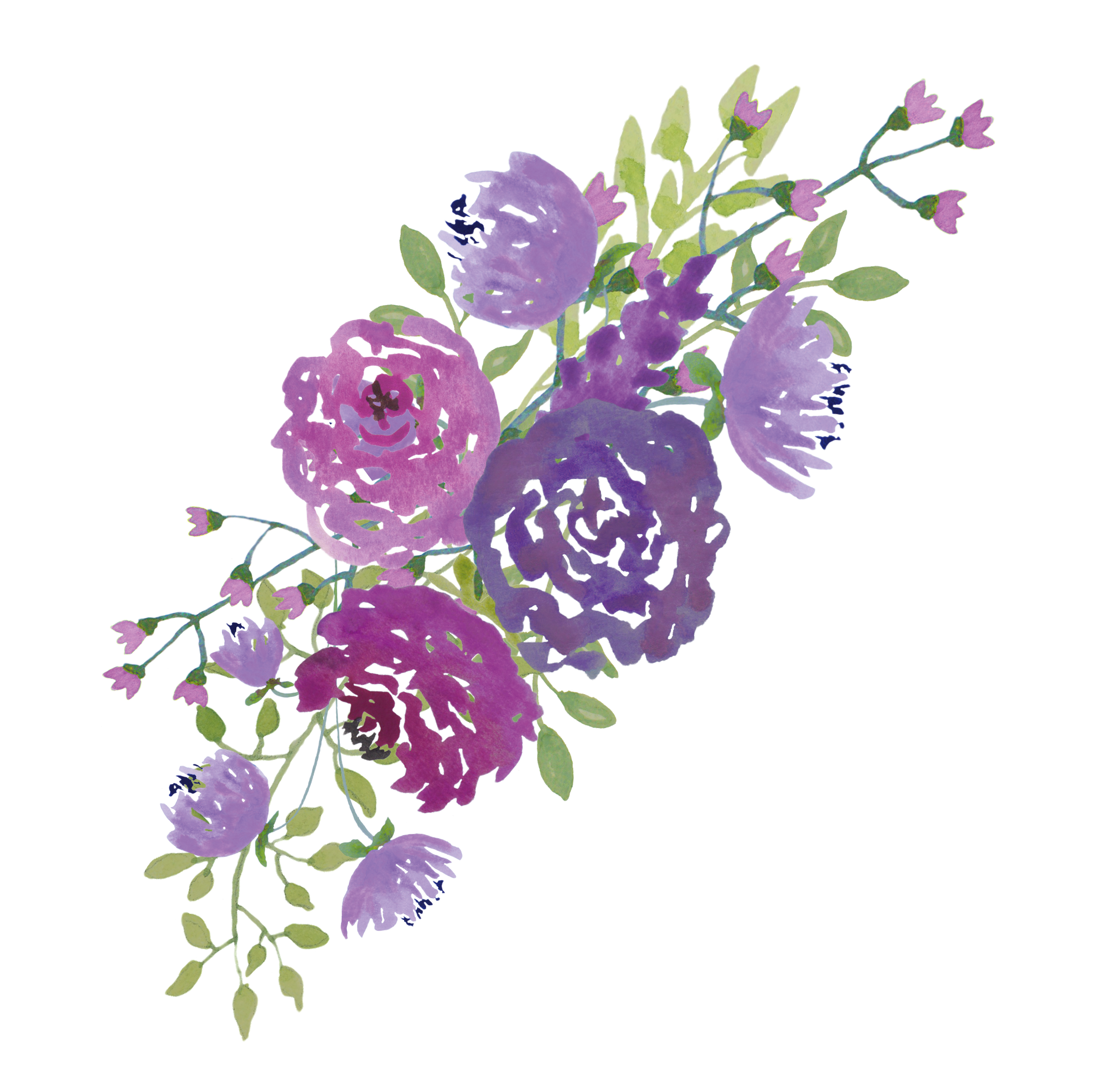Purple Wedding Png - Pin by Tiffany Grady on Prints | Free watercolor flowers, Purple ...