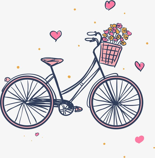 Pink Bicycle Png - Pink Bikes And Flower Baskets, Bike Hand Painted, Cartoon Bikes ...