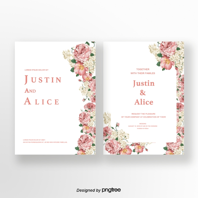 Png Tree With White And Pink Flowers - Pink flower unilateral typesetting white wedding invitation card ...