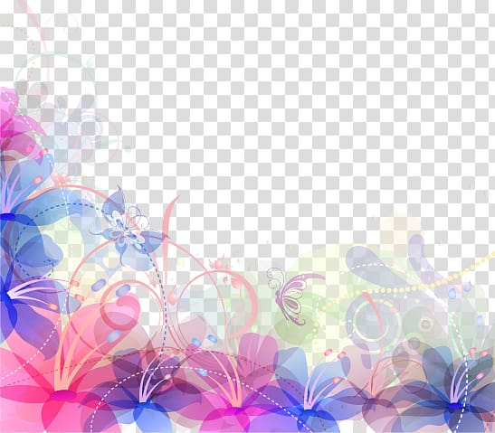 Blue And Purple Abstract Png - Pink, teal, and blue floral illustration, Light Watercolor ...