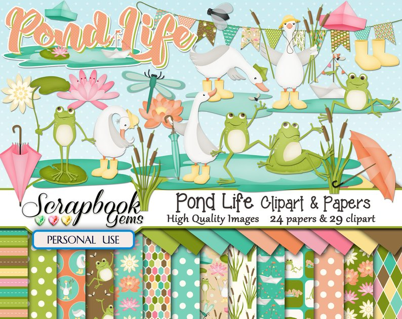 Pond Life Png - POND LIFE Clipart & Papers Kit 29 png Clipart files 24 jpeg | PNGio
