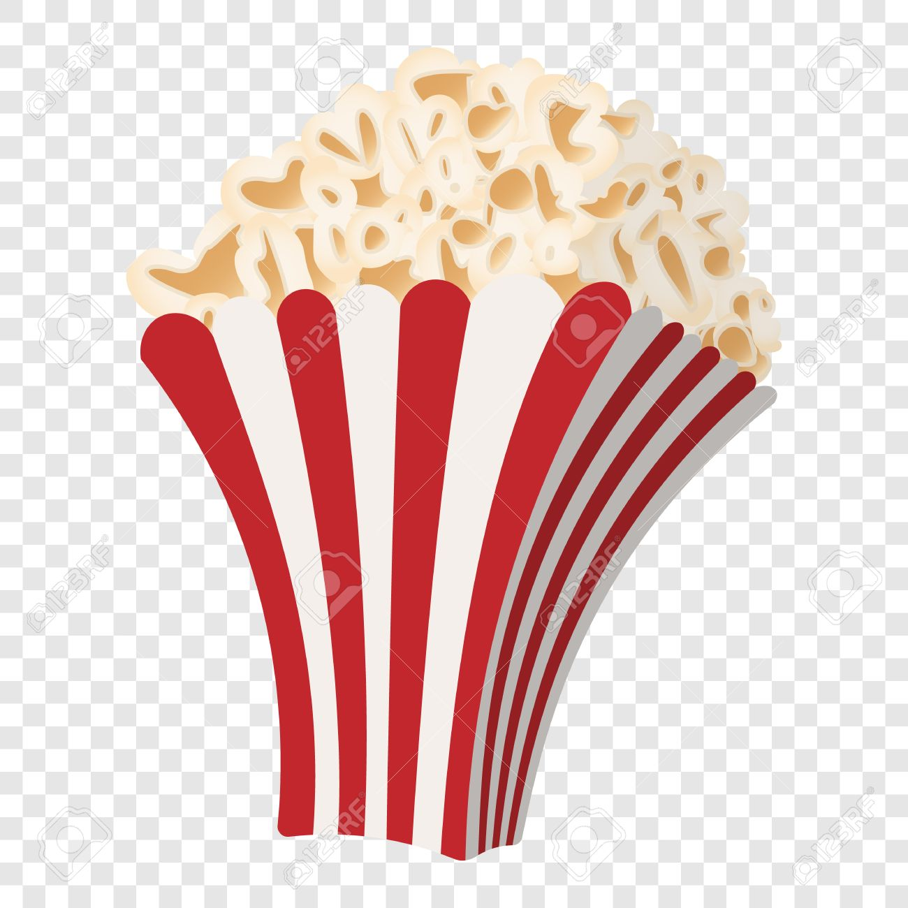 Popcorn No Background - Popcorn Icon In Cartoon Style On Transparent Background Royalty ...