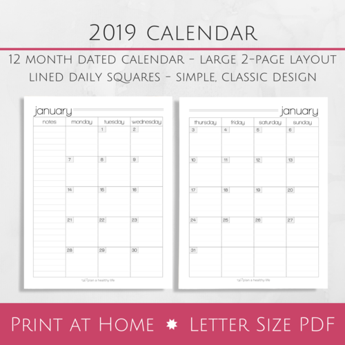 2 Page Calendar Template 2019 Png Of Monthly Calendar & Free Of Monthly Calendar.png Transparent