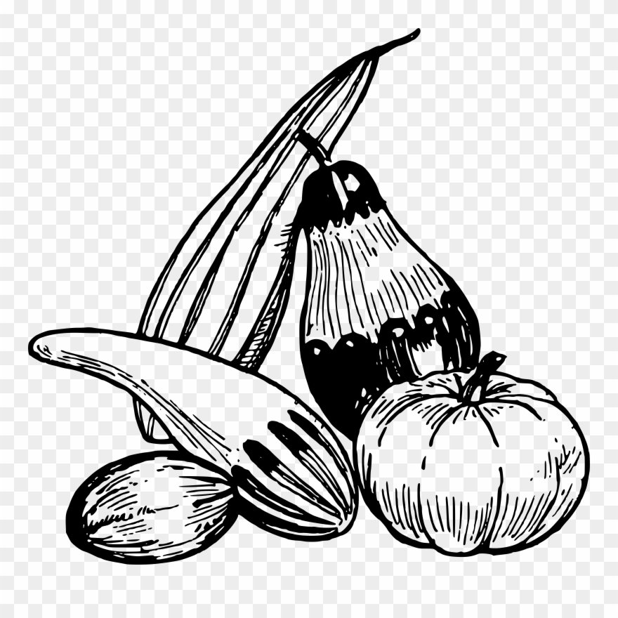 Food And Vegetables Png Black And White & Free Food And