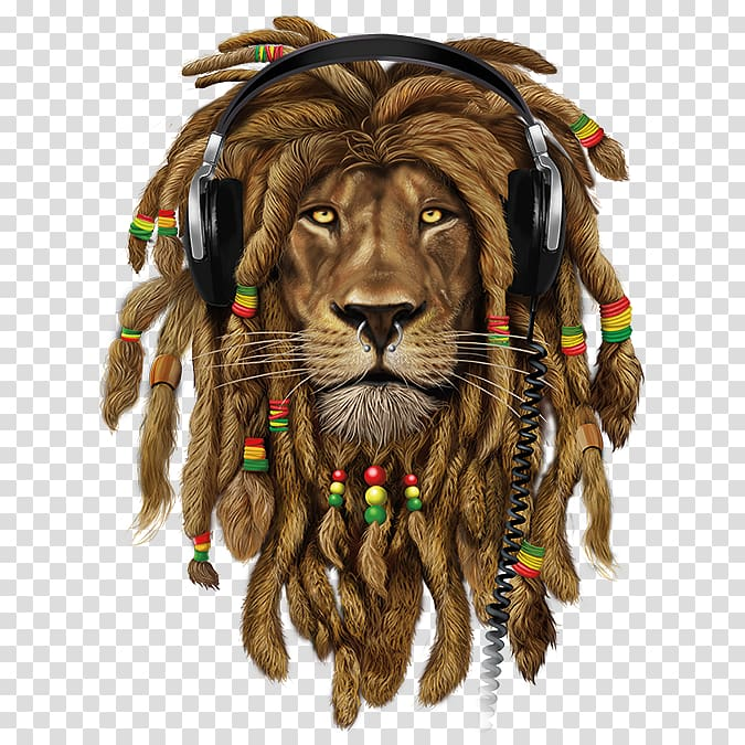 Rasta Lion Png - Rasta lion wearing headphones , Lion T-shirt Zion Dreadlocks ...