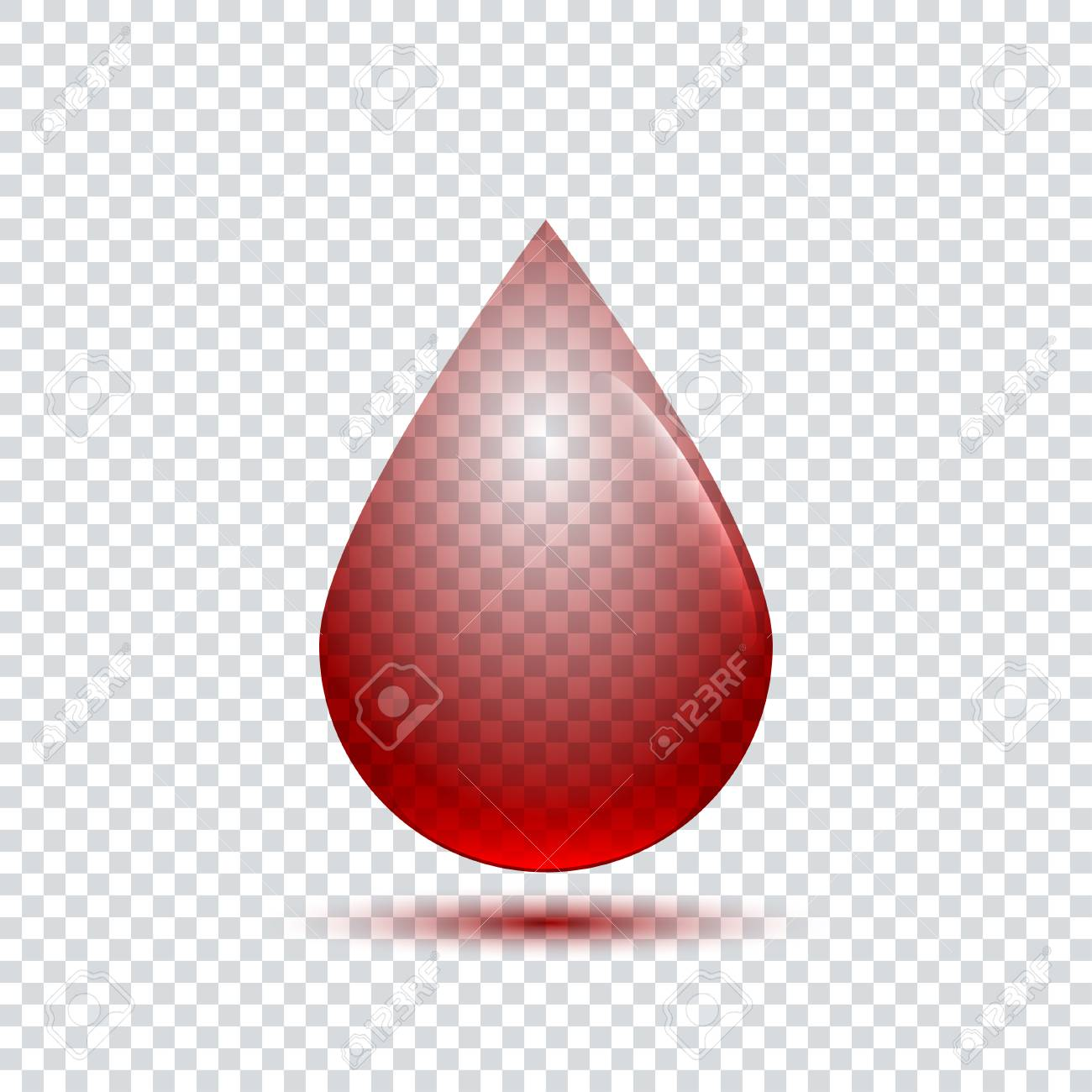 Blood Drop Transparent - Realistic Blood Drop With Shadow On Transparent Background Royalty ...