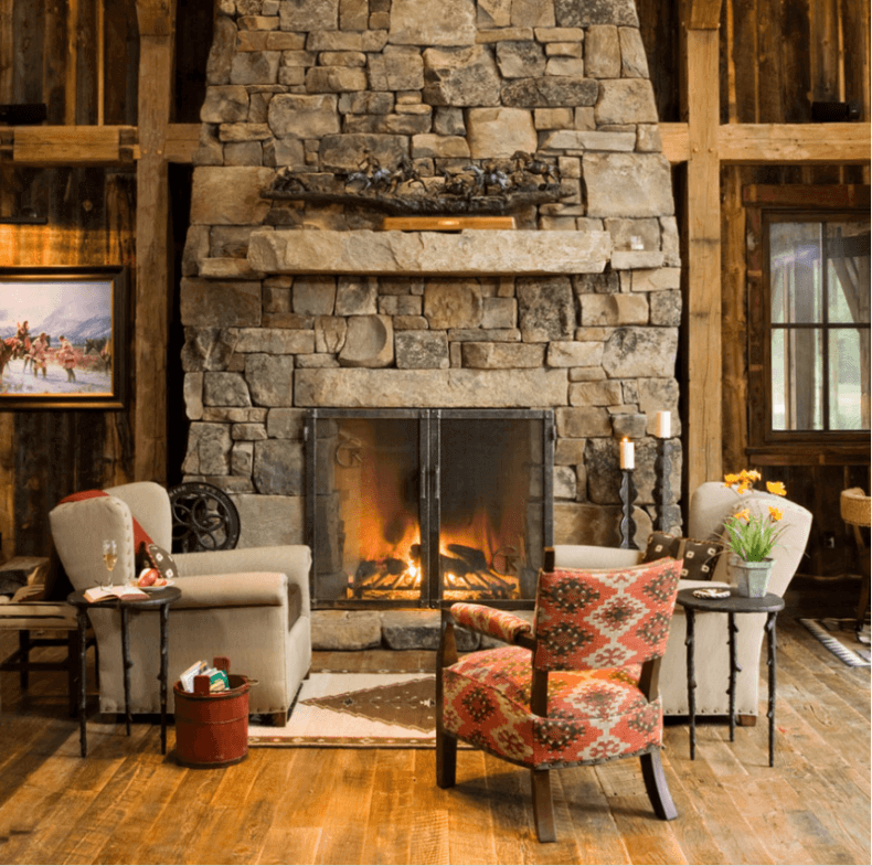 Living Room With Fireplace Png - Reclaimed wood flooring in a country farmhouse style living room ...