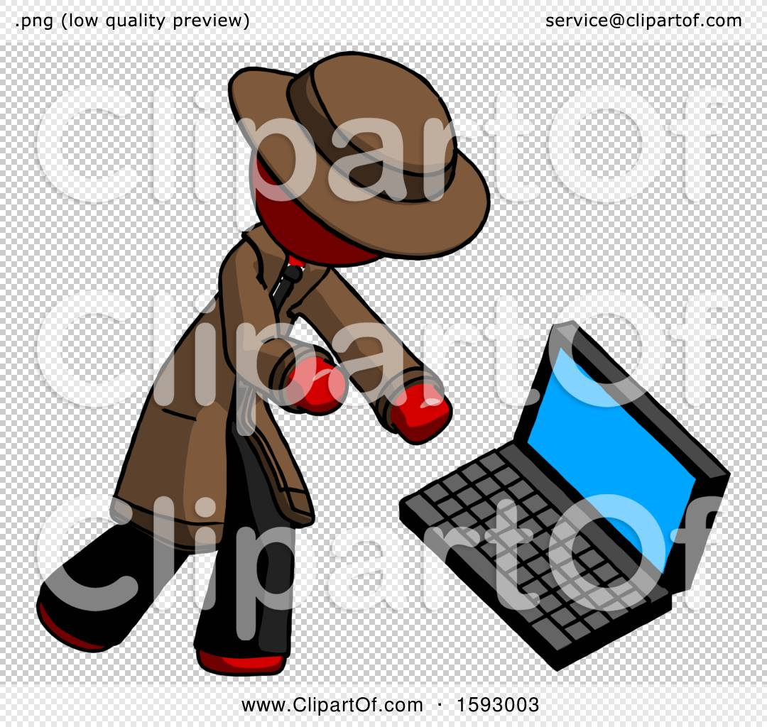 Man Boxing Computer Png - Red Detective Man Throwing Laptop Computer in Frustration by Leo ...