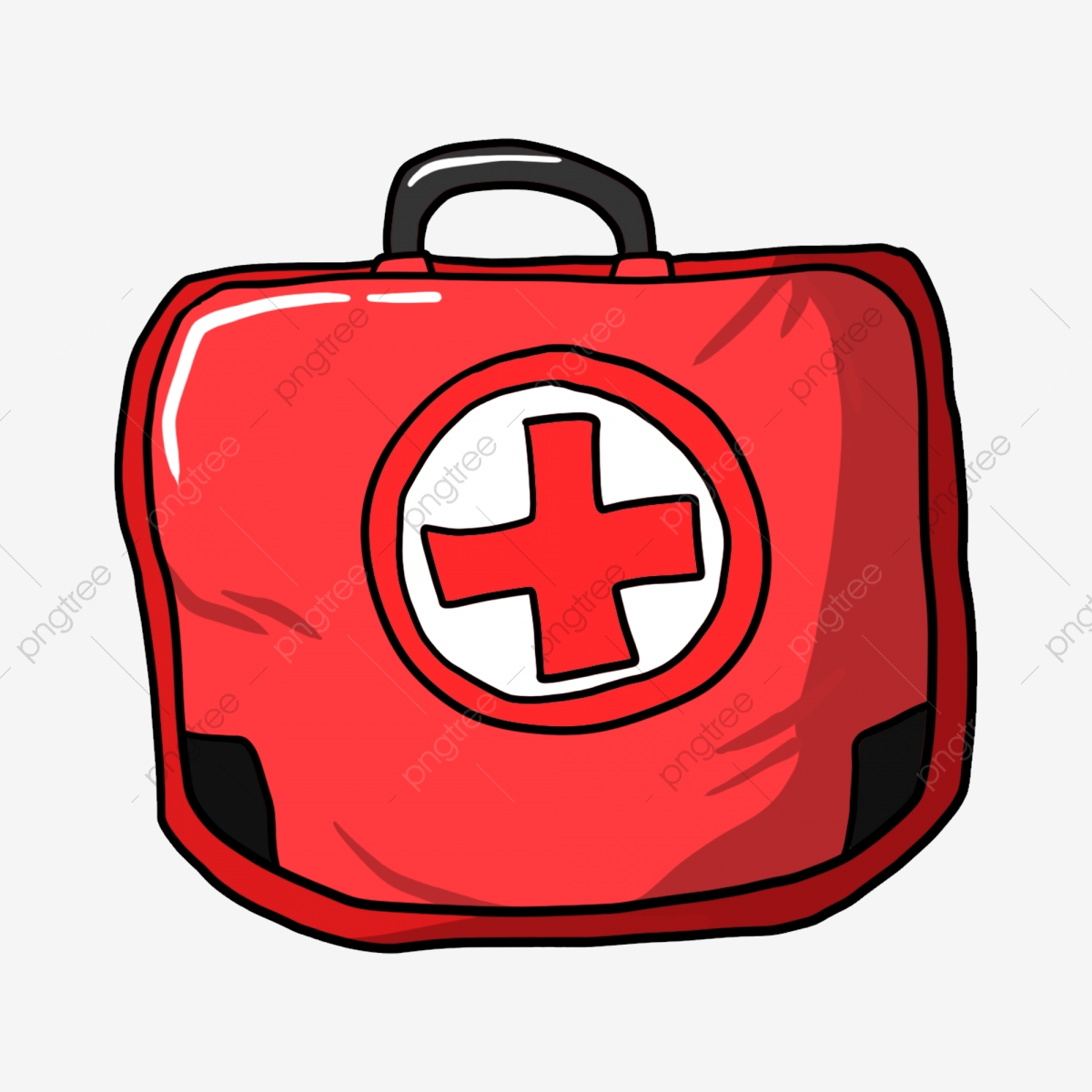 First Aid Cartoon Png - Red First Aid Kit Red Cross Society Red Bag Cartoon Illustration ...