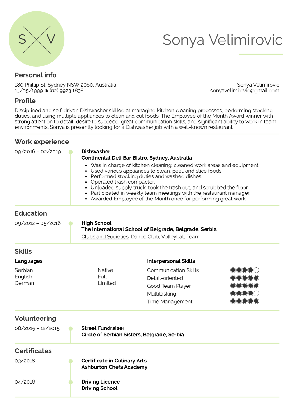 Resume Examples By Real People Dishwash 416418 Png