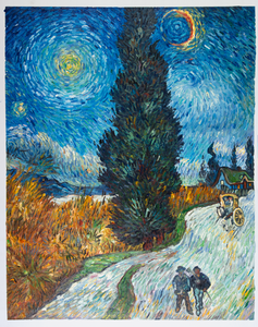 Road With Cypress And Star Png - Road with Cypress and Star reproduction | Van Gogh Studio