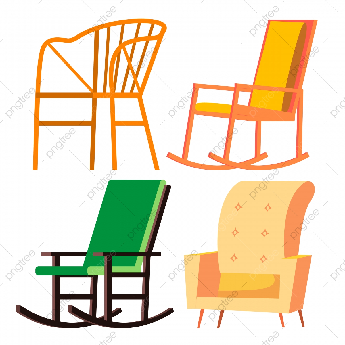 Rocking Chair Border Png - Rocking Chair Vector Retro Furniture Comfortable Home Wooden Chair ...