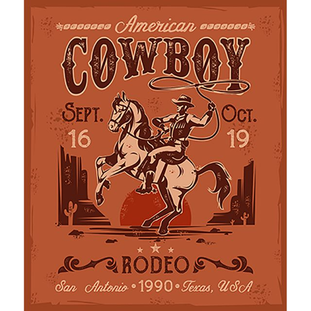 Rodeo Cowboy Valentines Day Png - Rodeo Poster With A Cowboy Sitting On Rearing Horse In Retro St ...