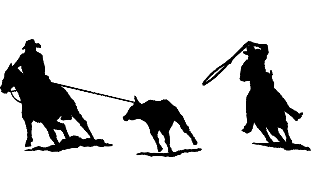 Rodeo Team Roping Silhouette Dxf File Fr #181666 - PNG