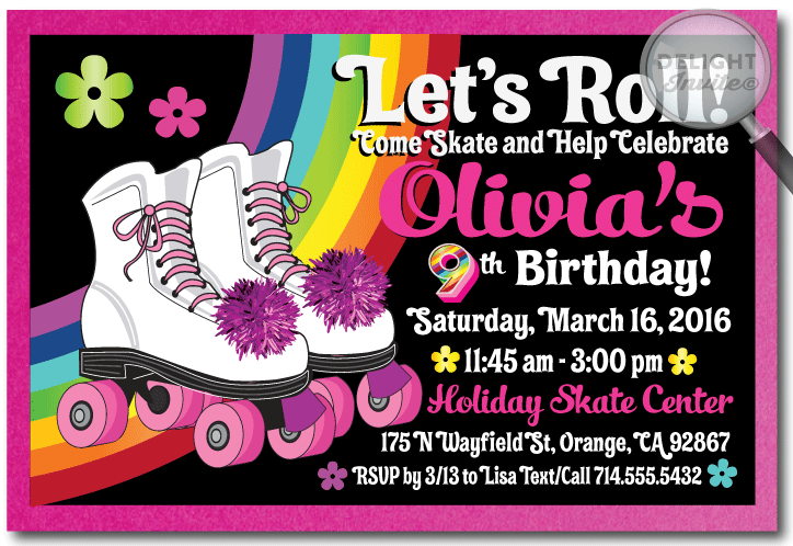 Roller Skate Party Invite Png Free
