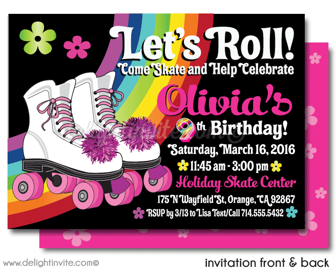 Roller Skate Party Invite Png Amp Free Roller Skate Party