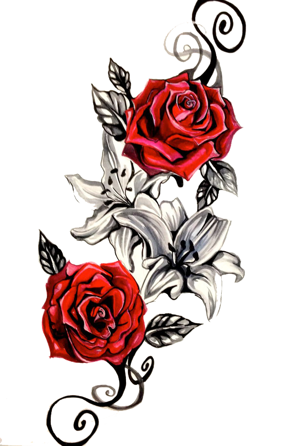 Rose Tattoo Png Clipart Png 600 911 18681 Png Images