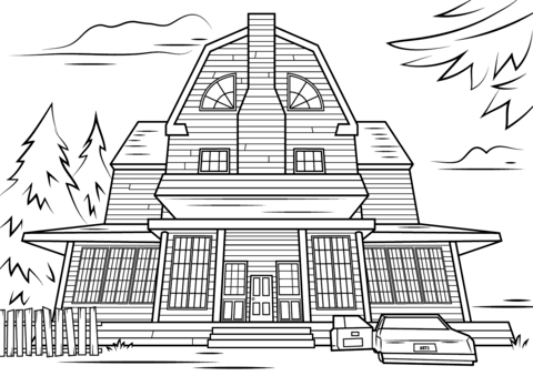 Scary Haunted House Coloring Page Free 190513 Png Images Pngio