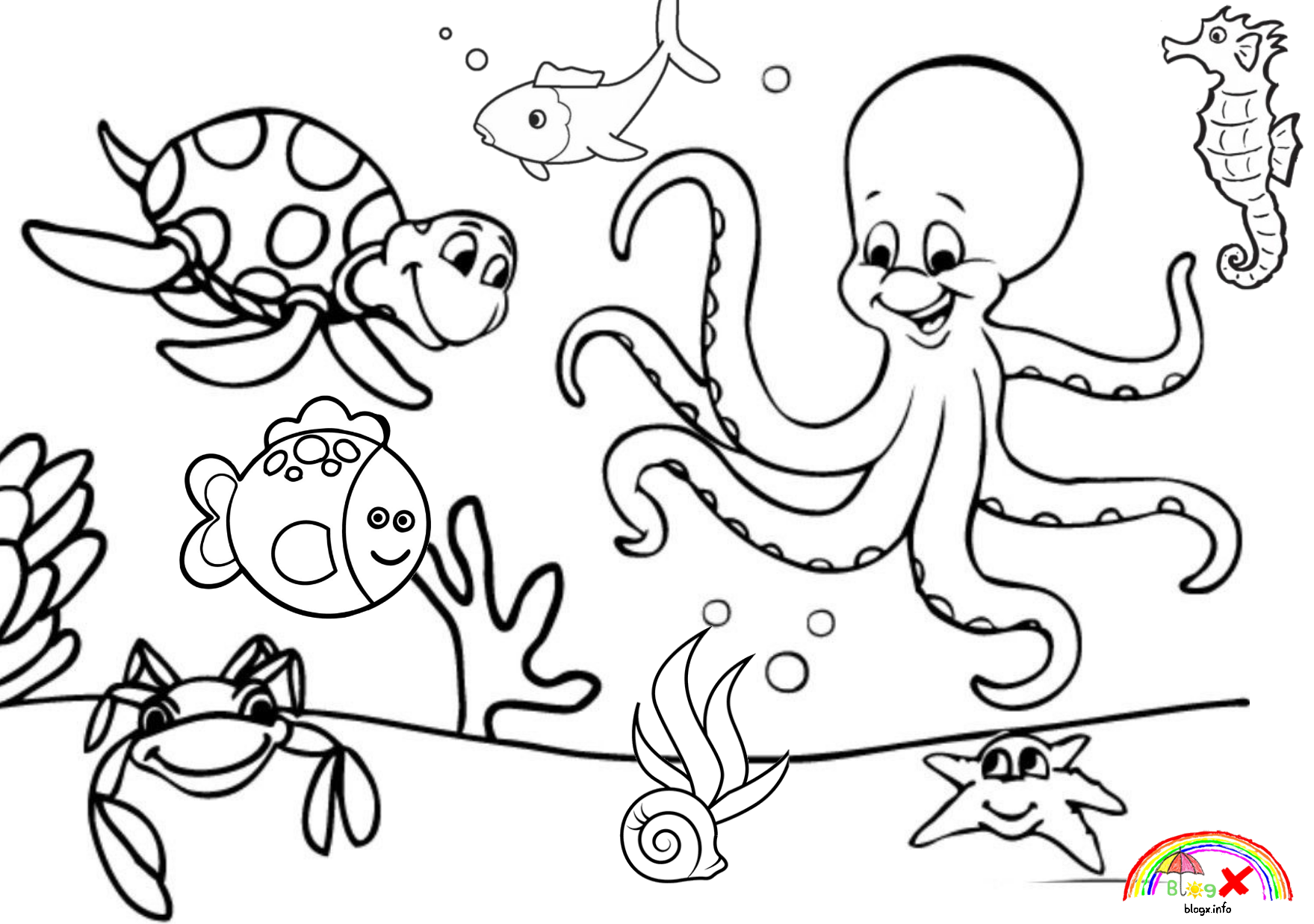 Sea Animals Coloring Pages Png & Free Sea Animals Coloring ...