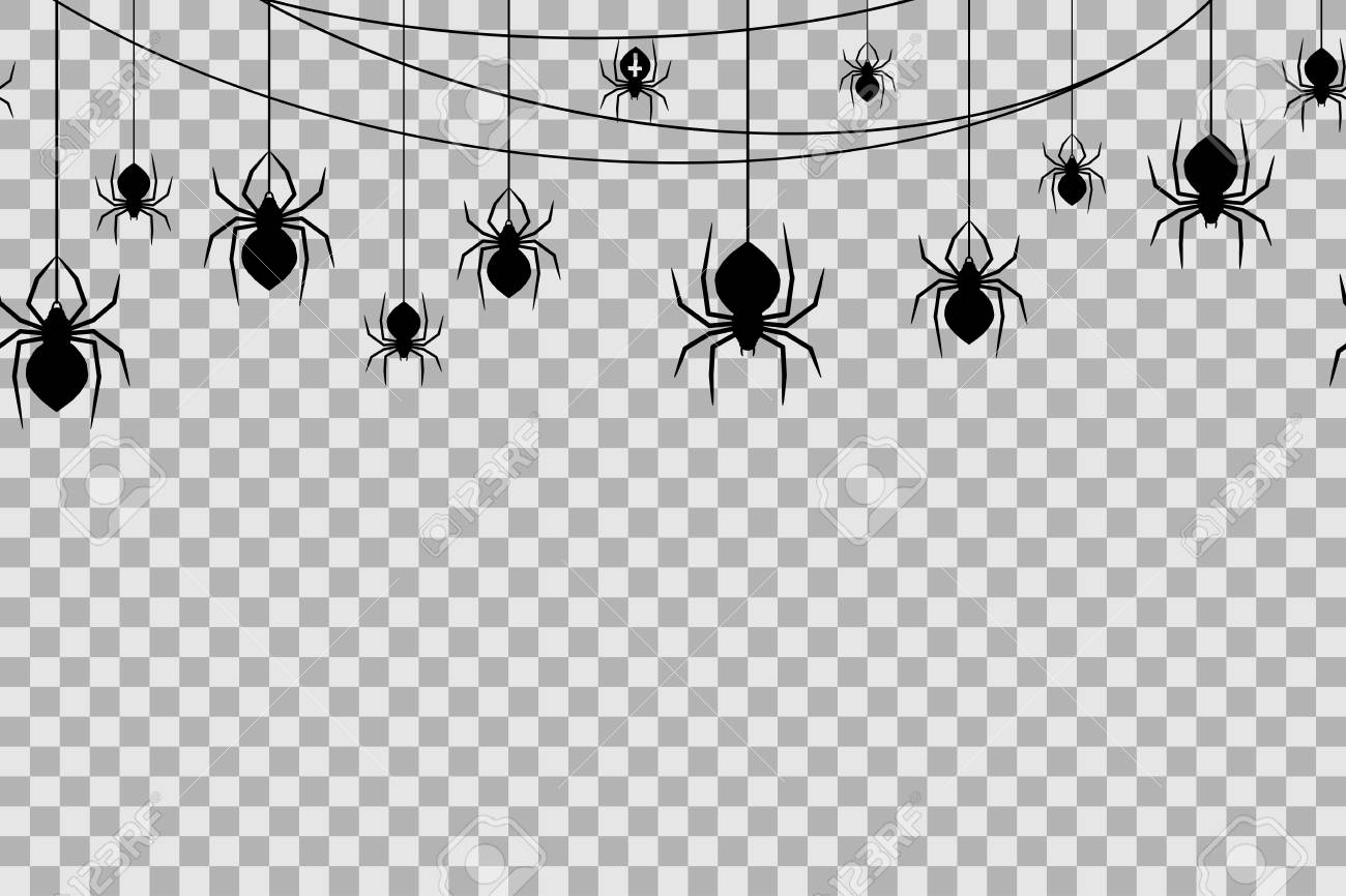 Halloween Transparent Background - Seamless Pattern With Spiders For Halloween Celebration On ...