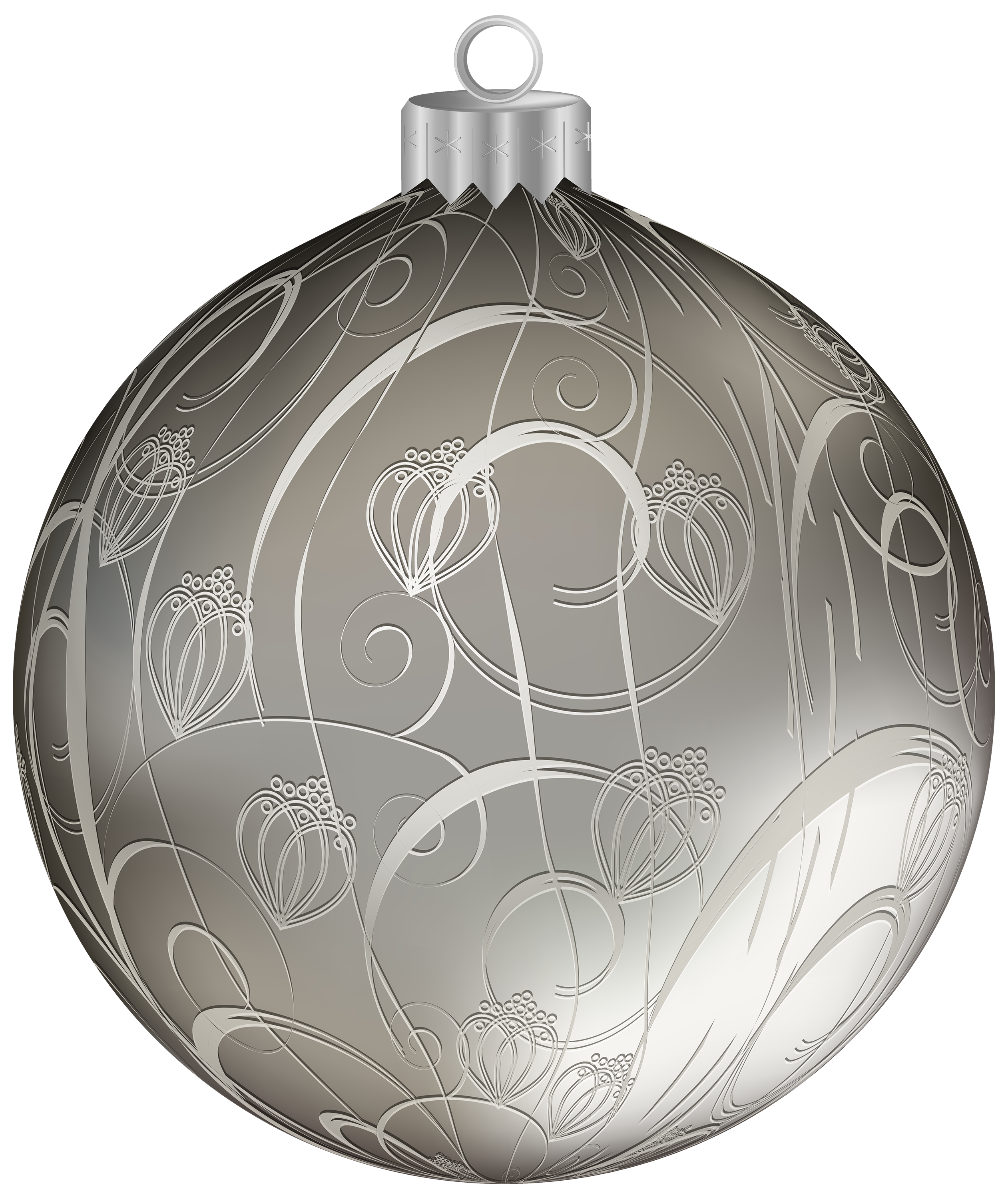 Silver Ornament Png - Silver Christmas Ball with Ornaments PNG Clipart Image | Gallery ...