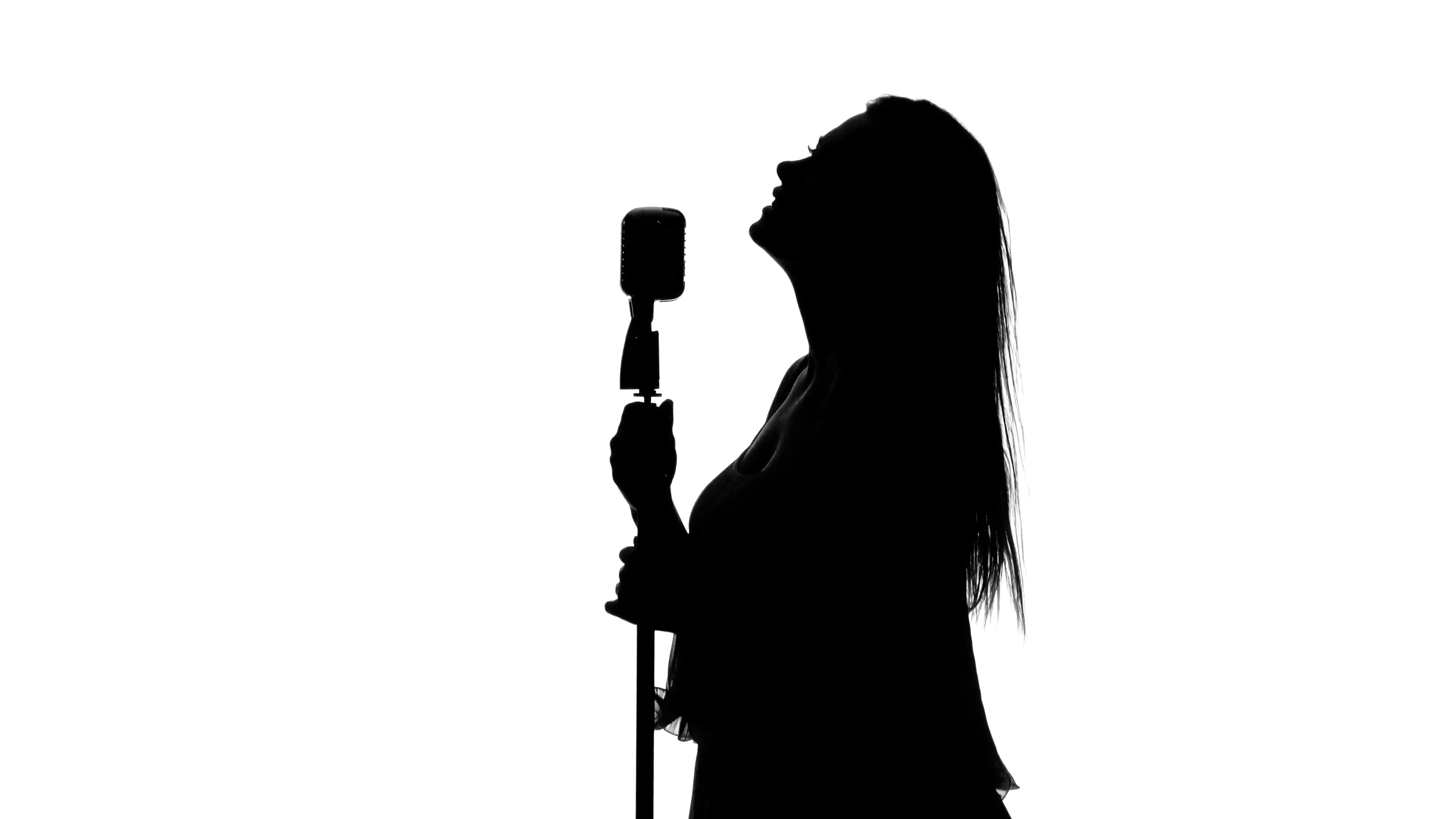 Singer With Microphone Png Black And White & Free Singer
