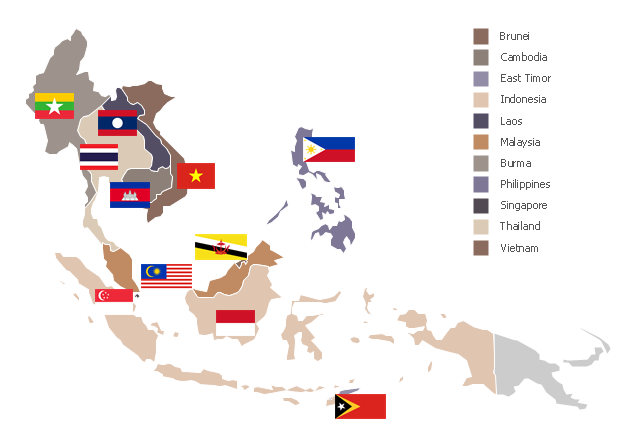 Southeast Asia Png - Southeast Asia - Political map   Asia - Vector stencils library ...