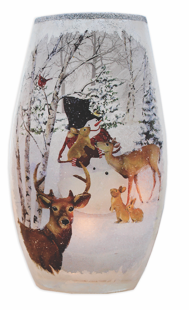 Snowman Scenes Dancing Png - Stony Creek Deer, Rabbits and Happy Snowman Winter Scene on a Lit ...