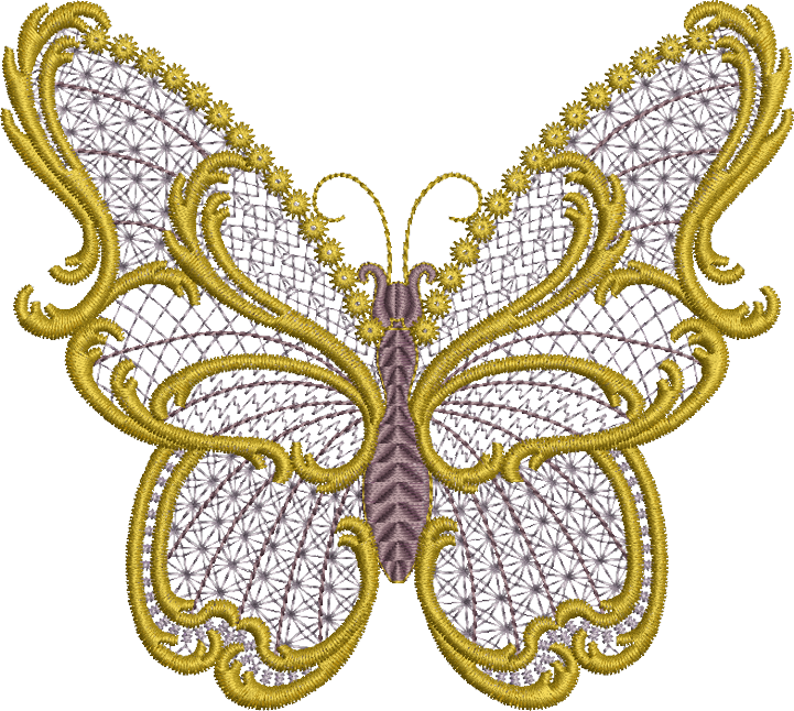 Embroidery Png - Sue Box Creations | Download Embroidery Designs | 29 - Old Gold Butterfly