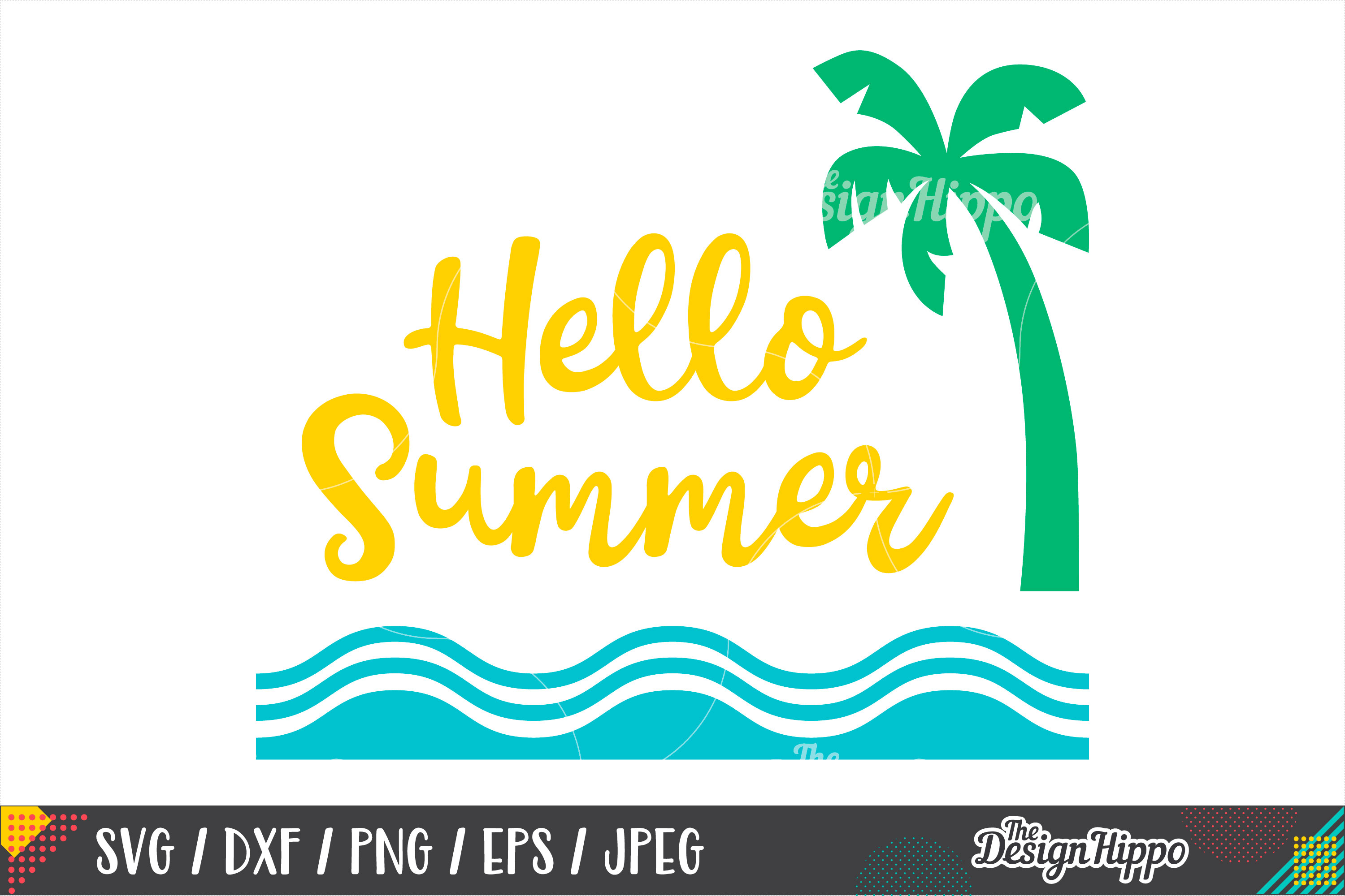 Hello Summer Png - Summer SVG, Hello Summer, Palm Tree, Waves, SVG PNG DXF File