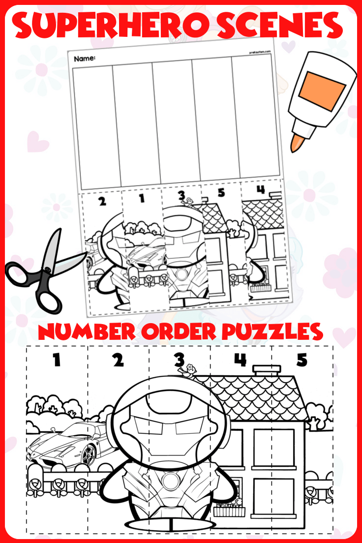 Superhero Number 5 Png - Superhero Scene Number Sequence Puzzles | Autism Activities for ...