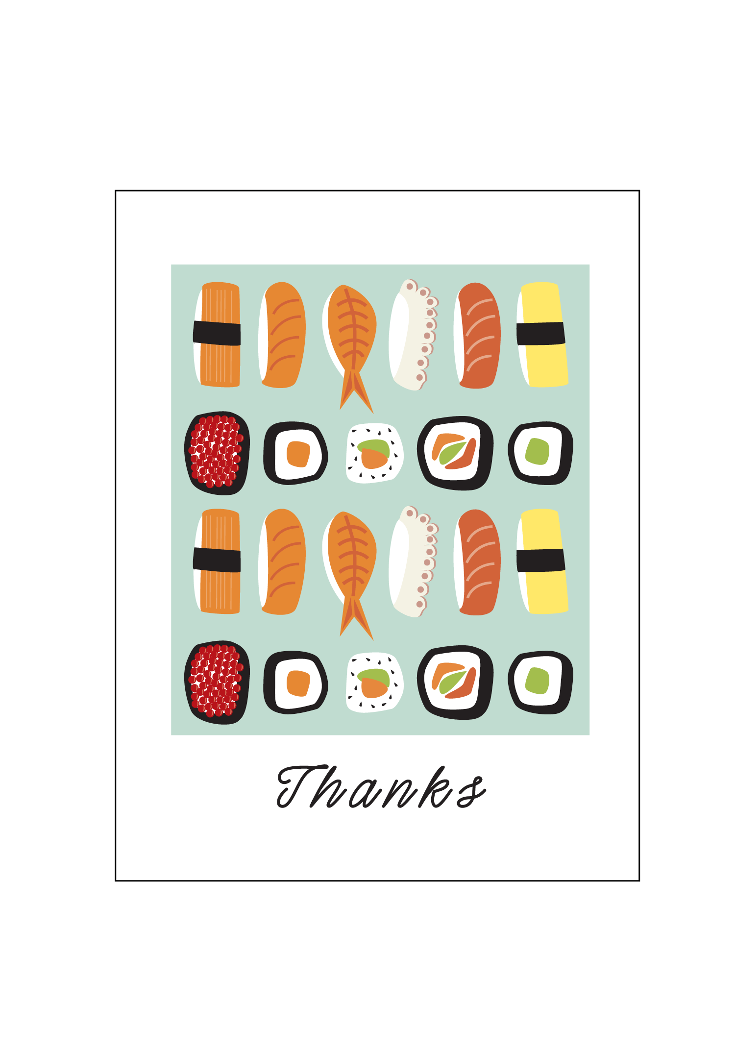 Smiling Thank You Butterfly Png - Sushi Thank You Cards — Social Butterfly Designs