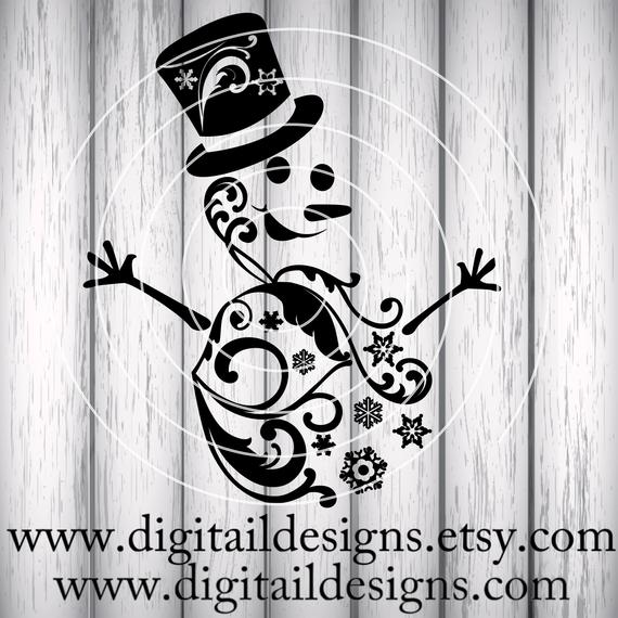 Snowman Silhouette Svg Png - Swirl Snowman SVG png dxf eps fcm ai cut file for   PNGio