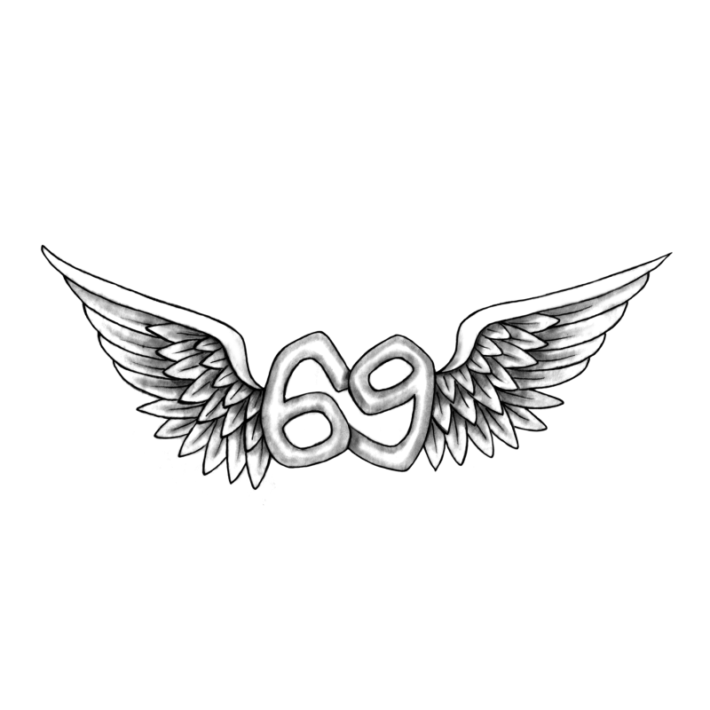 T Winged 69 Text Temporary Tattoo In 750473 Png