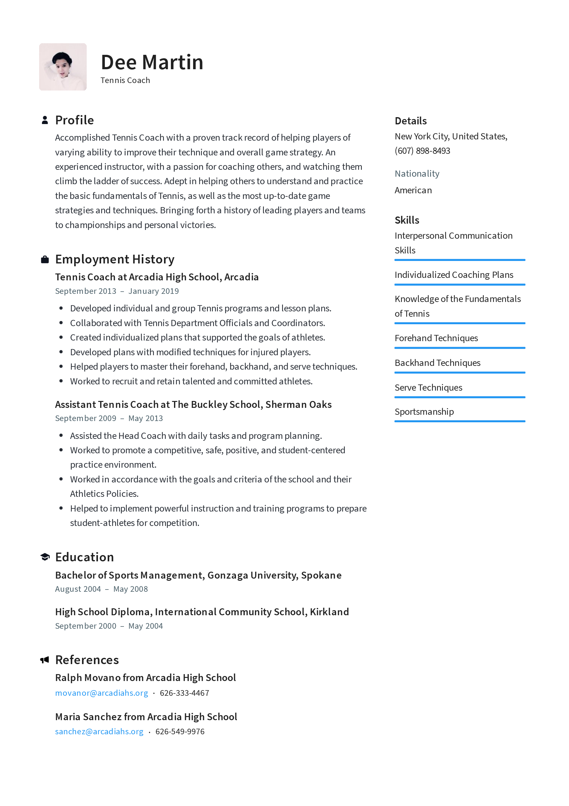 Coaching Resume Examples Png Free Coaching Resume Examples Png